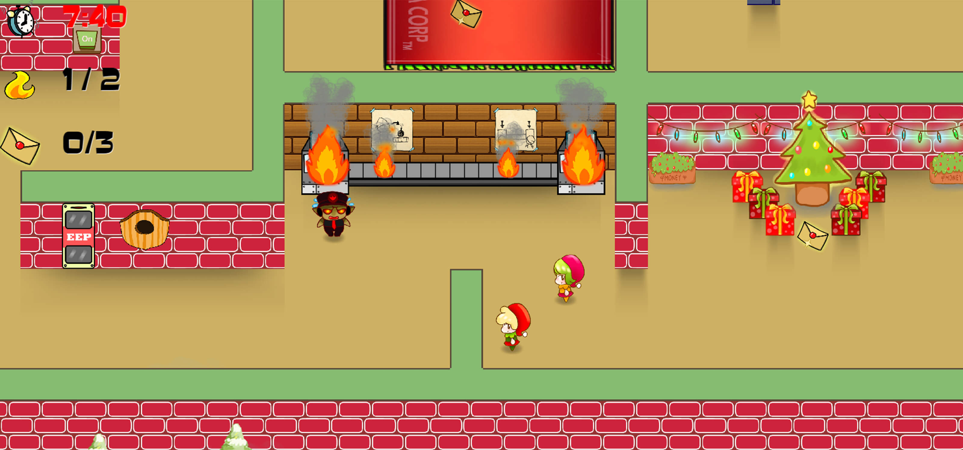 Screenshot from DigiPen (Singapore) student game Santa's Clause showing top-down view of an office/workshop with elves and reindeer employees.