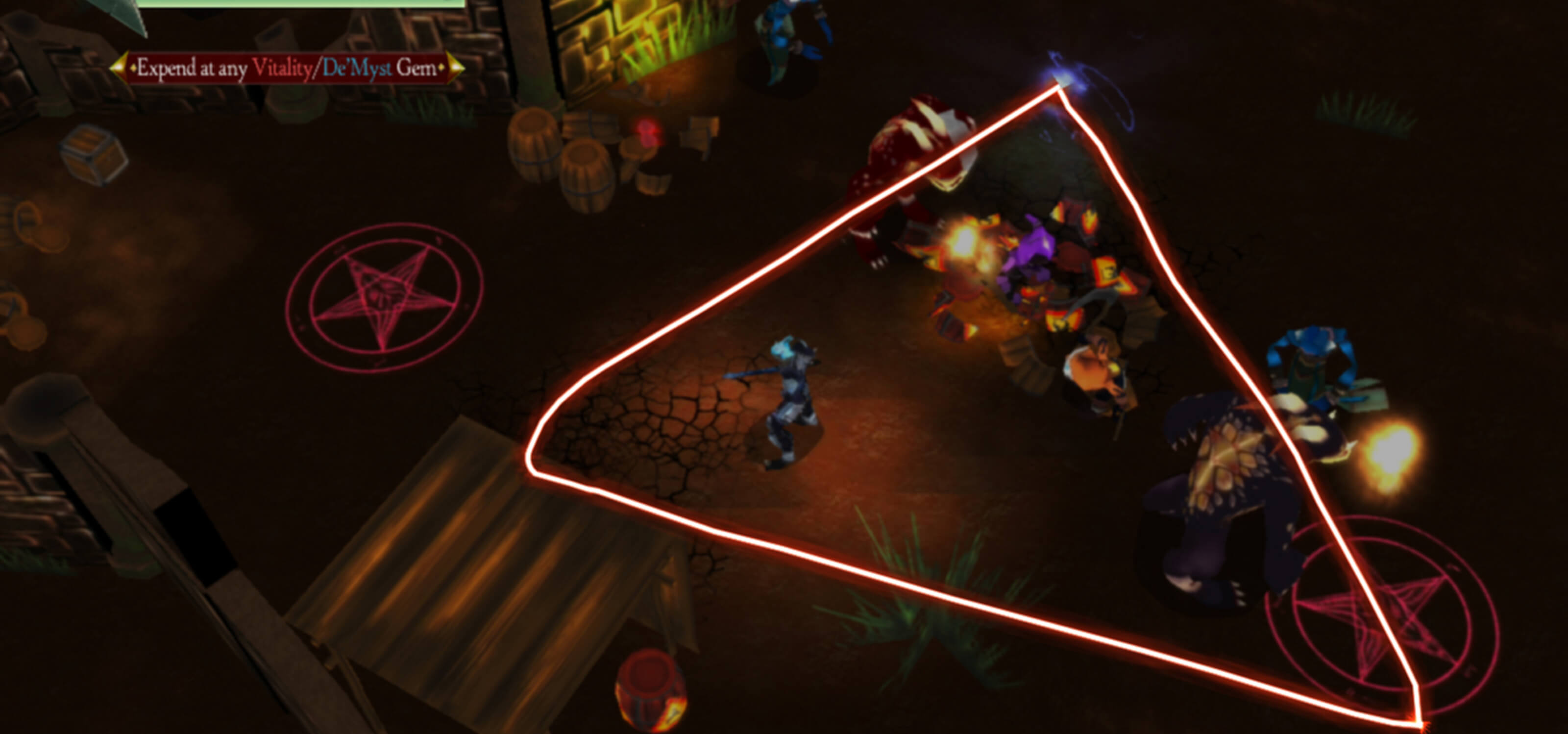 In a dark dungeon, a bright red triangle is drawn around enemies to cast a damaging spell