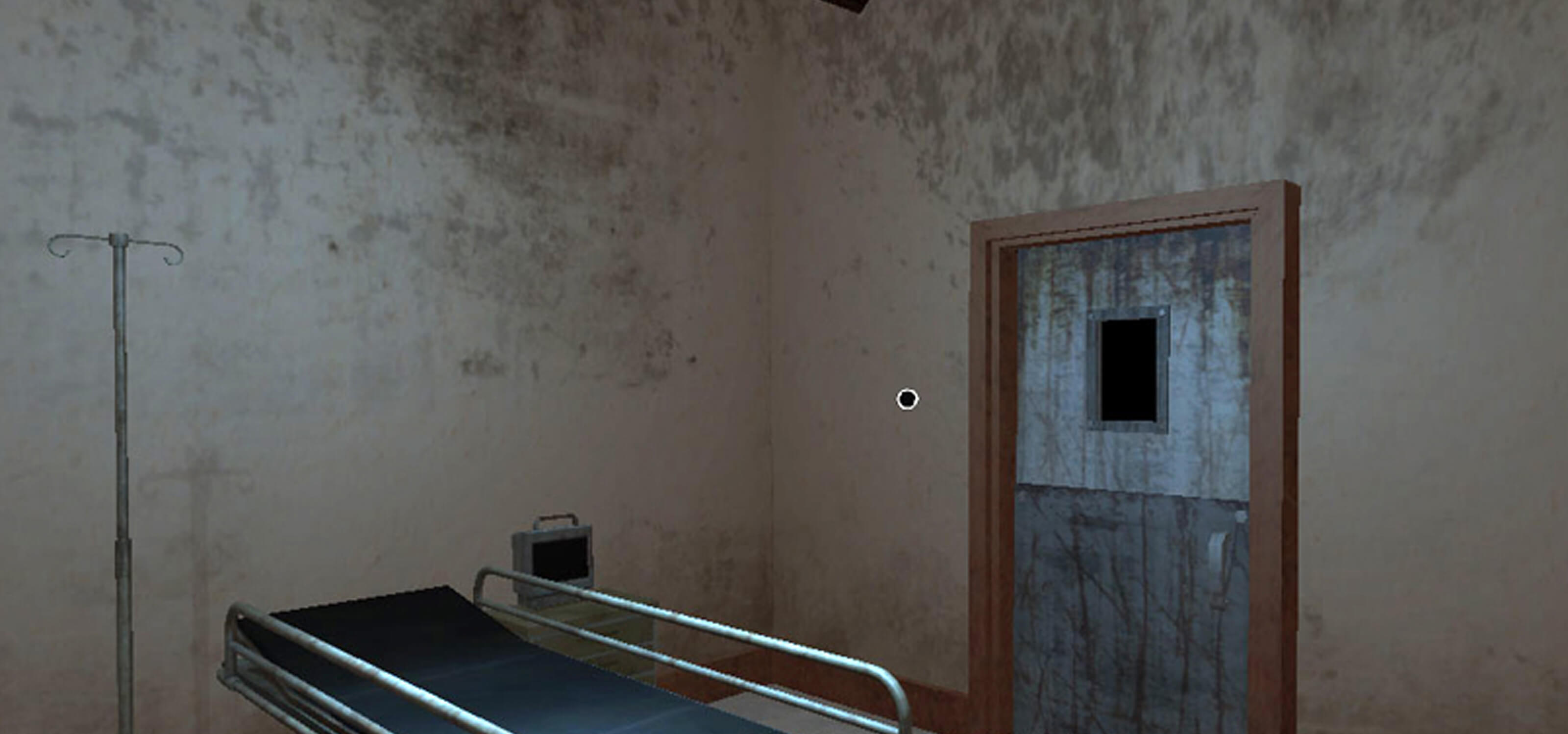Screenshot of game inside a grimy hospital room with a gurney and door