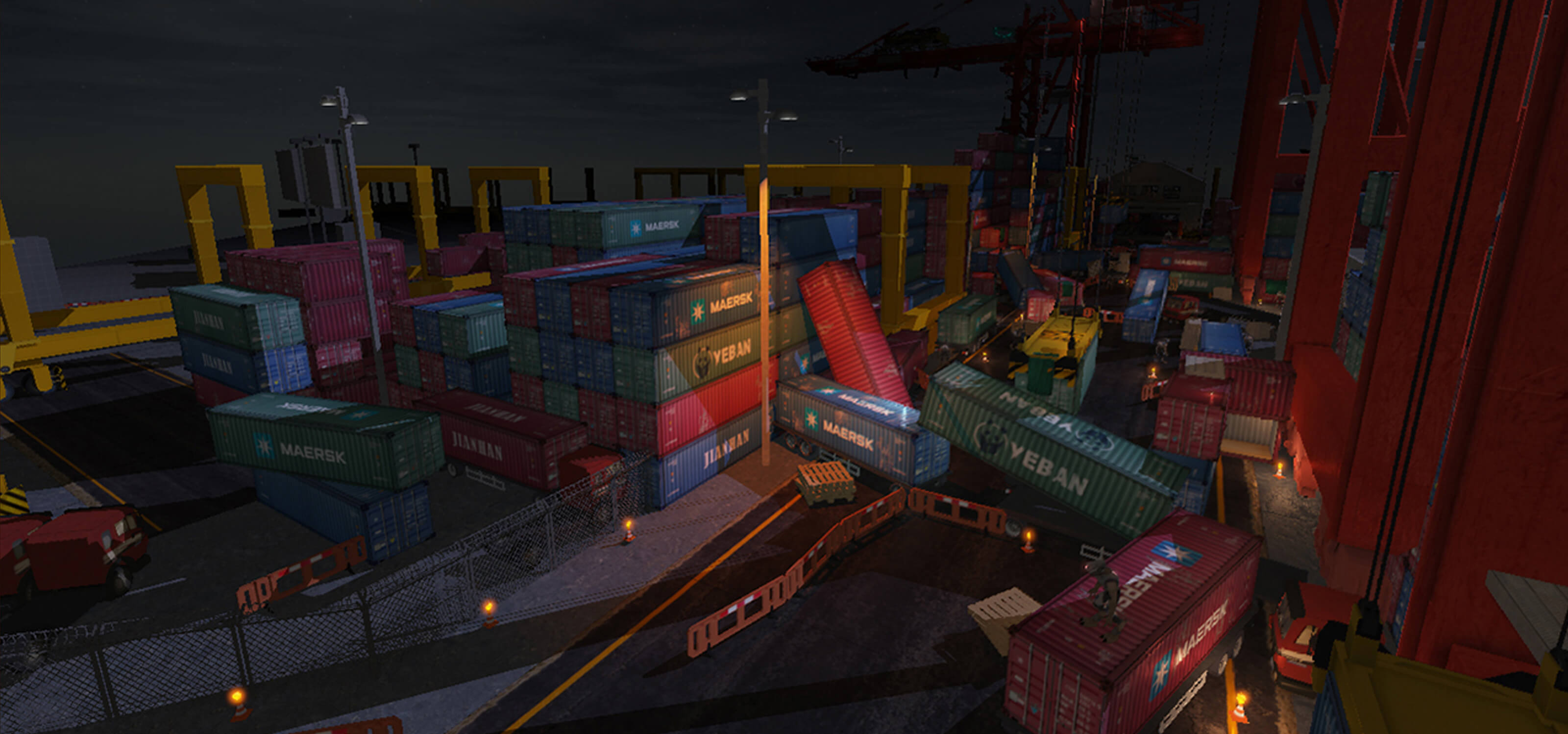 Screenshot of game at a dockyard at night with several overturned shipping containers