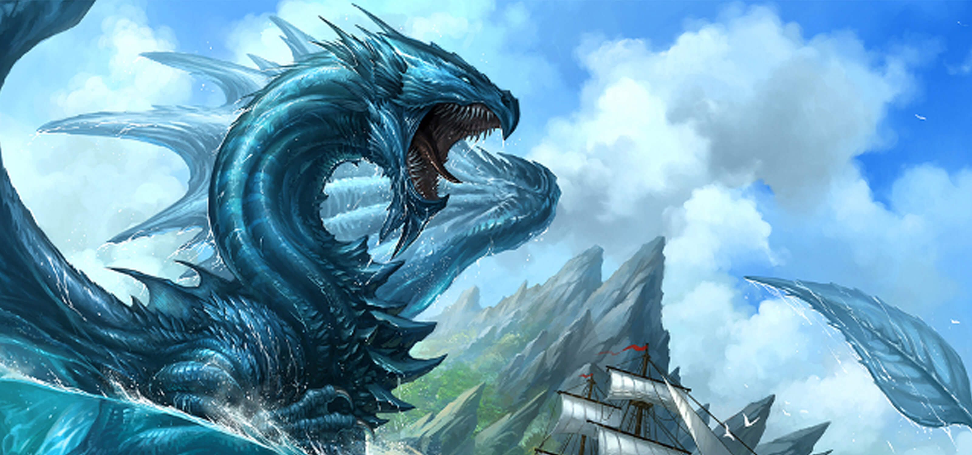 A blue dragon swimming in the ocean, about to pounce upon a galleon with a rocky island behind