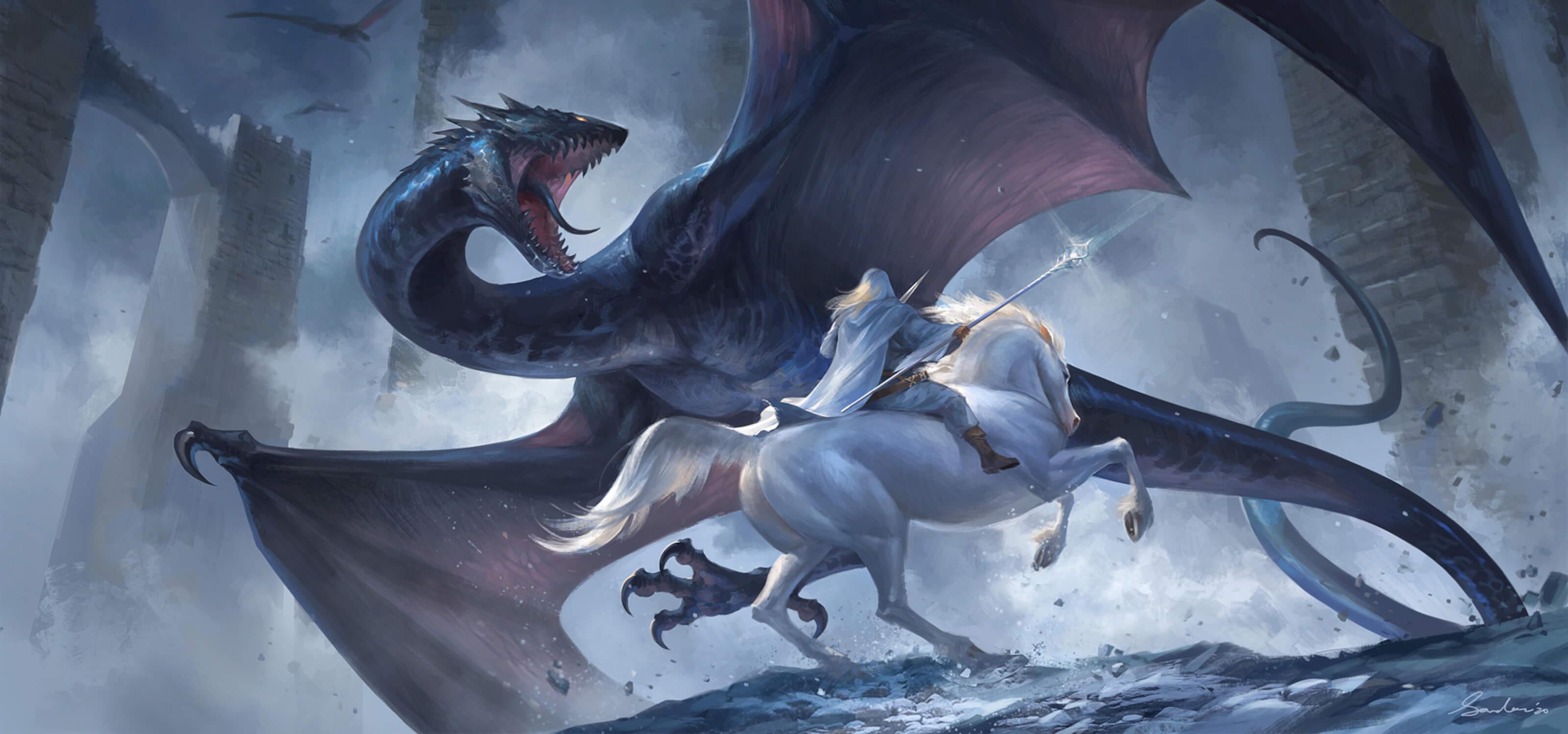 A wizard on horseback fights a wyvern-like beast, by Sandara Tang.