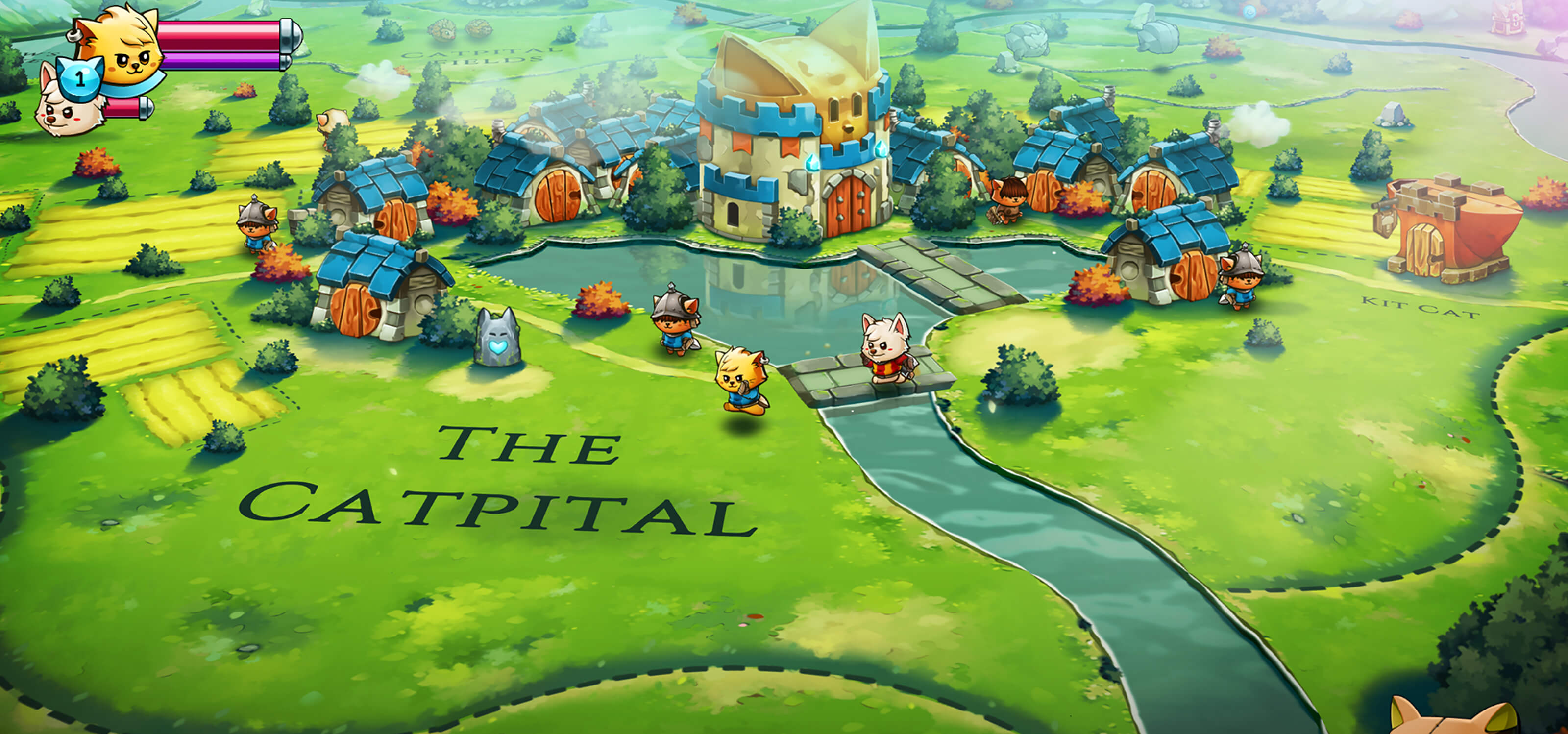 Cat Quest 2 screenshot: Animal character sprites move across a map of the world covered in fields, rivers, and villages.
