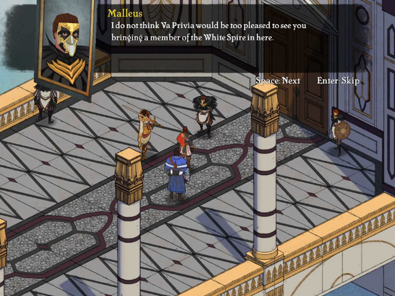 Screenshot of Masquerada in isometric view, with a headshot of a character and his speech bar across the top of the screen