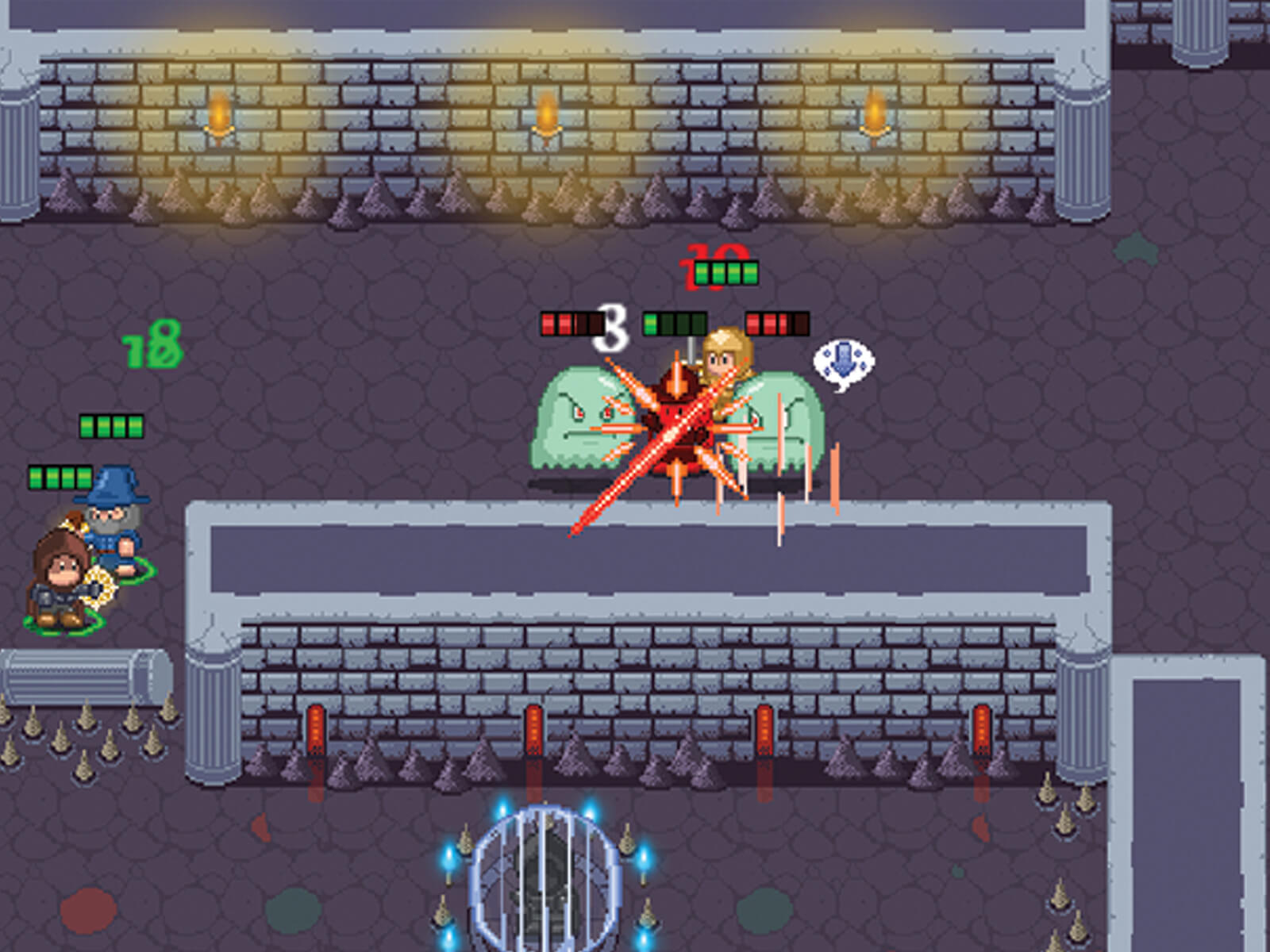 Screenshot of Dungeon Delvers in a dungeon with the playable characters being attacked by green blob monsters