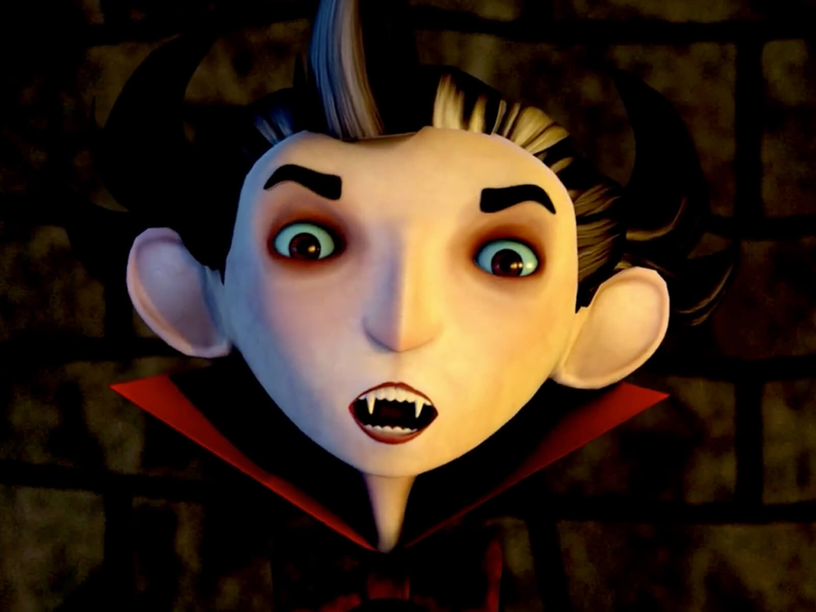 Close-up shot of a 3D animated vampire with a pale face, fangs, and red collar