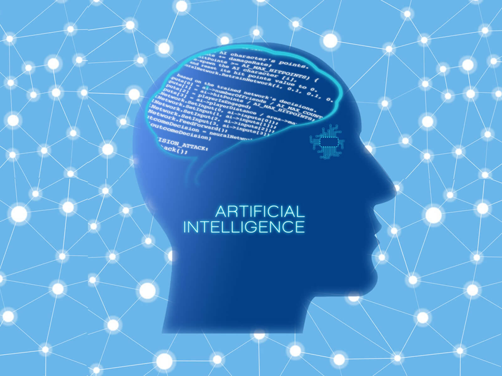 "A graphic featuring a silhouette of a man's head with computer code in the brain area and the words ""Artificial Intelligence"" on the cheek area"