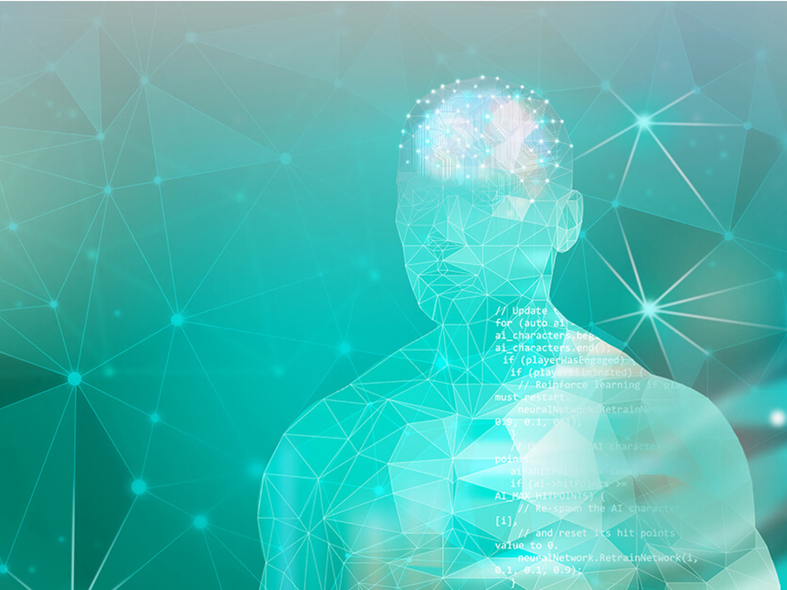3D mesh of a humanoid man with programming code overlaid on his body.