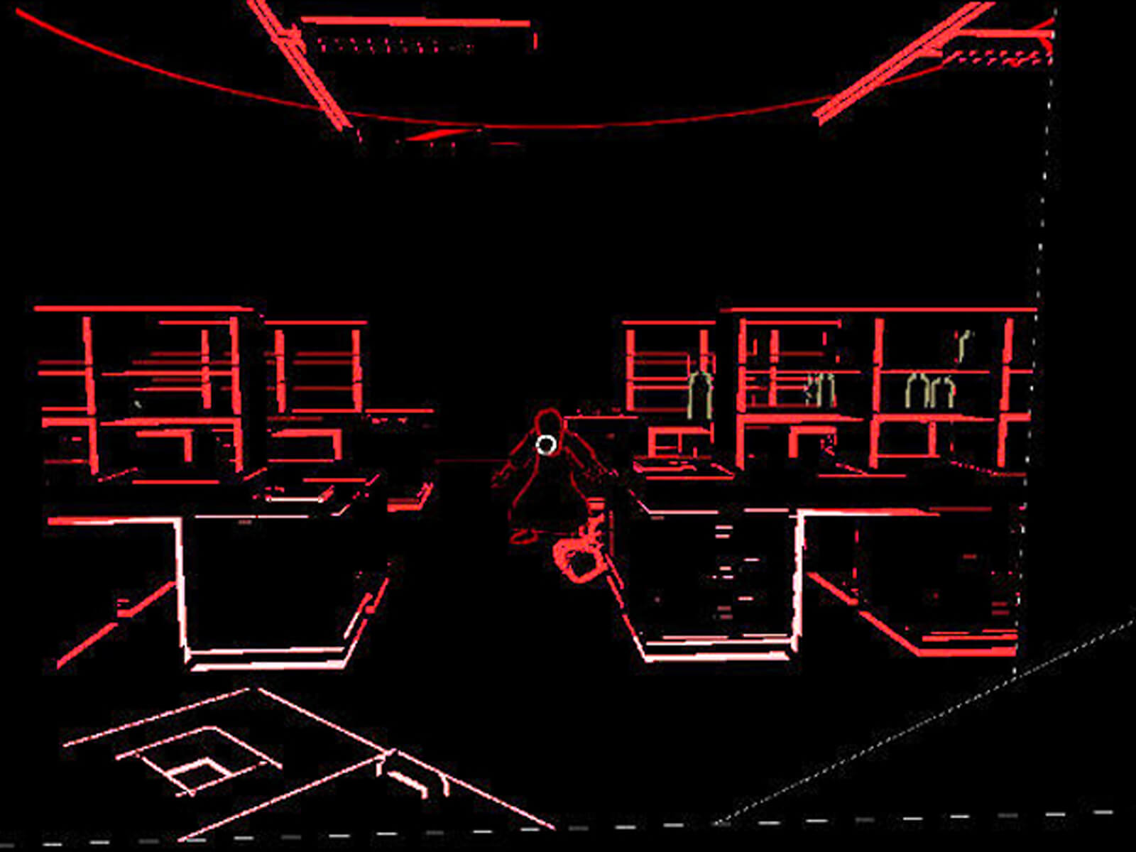Black and red-outlined screenshot of game Lurking. A crouched figure stares toward the viewer surrounded by lab equipment