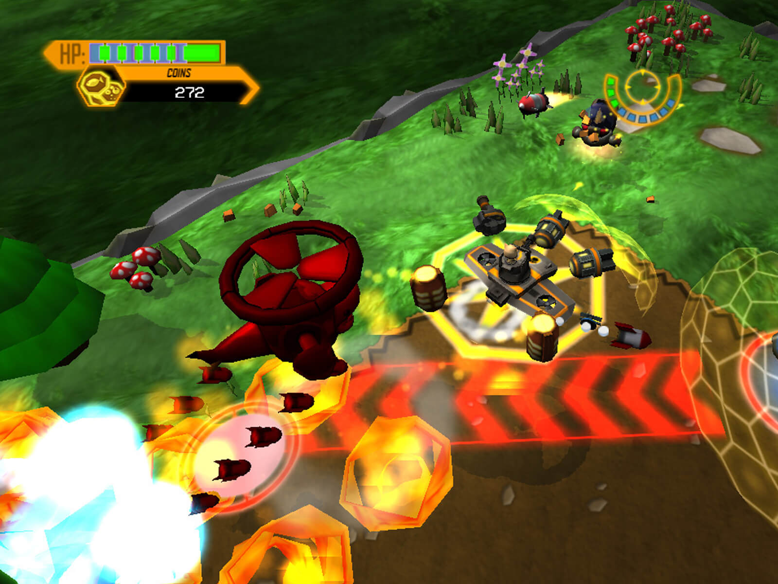Screenshot of player's cat-piloted hover tank surrounded by enemies and dodging explosions and bombs