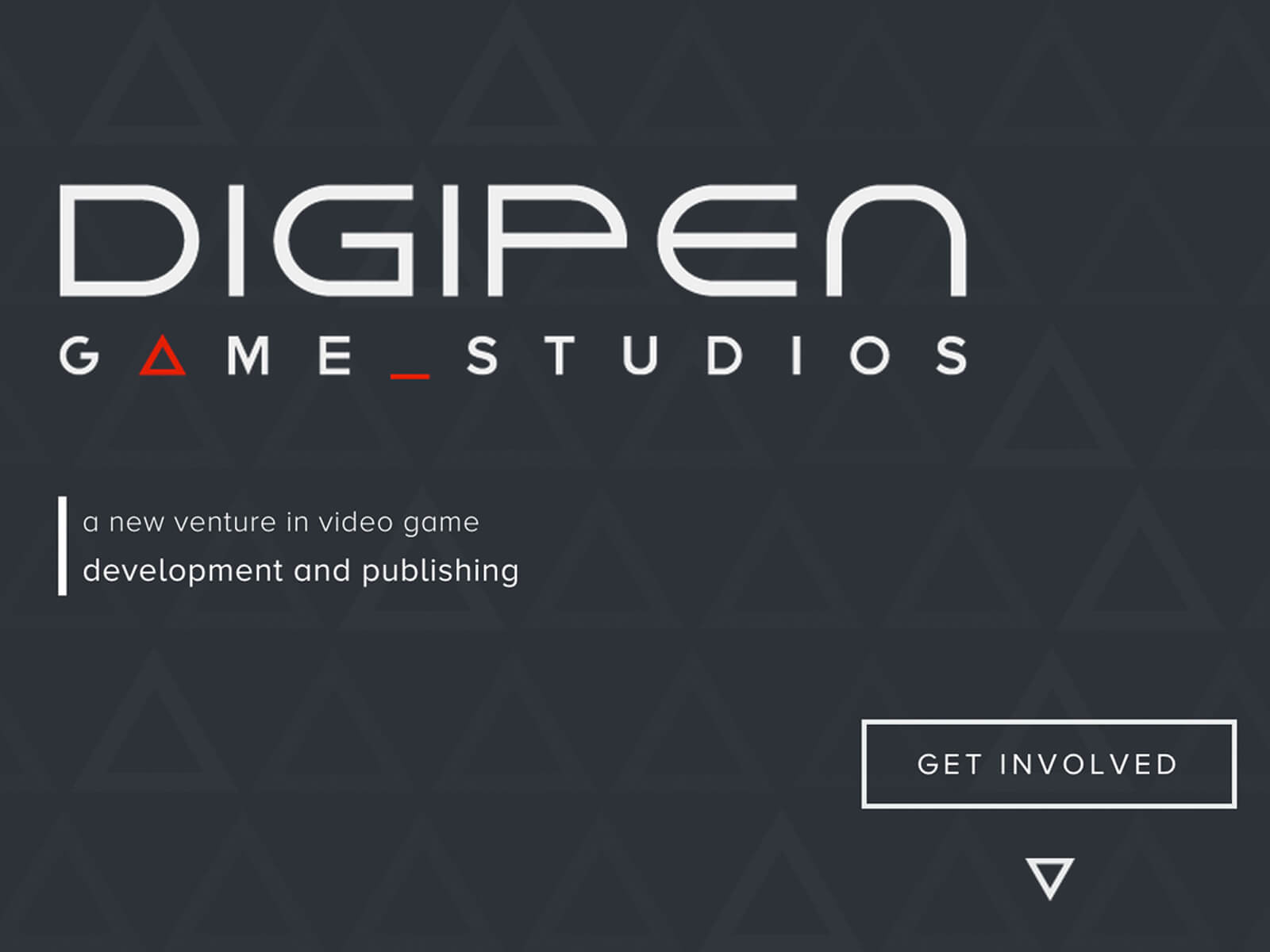 Screenshot of DigiPen Game Studios homepage with logo against a dark gray background with faint triangular outlines