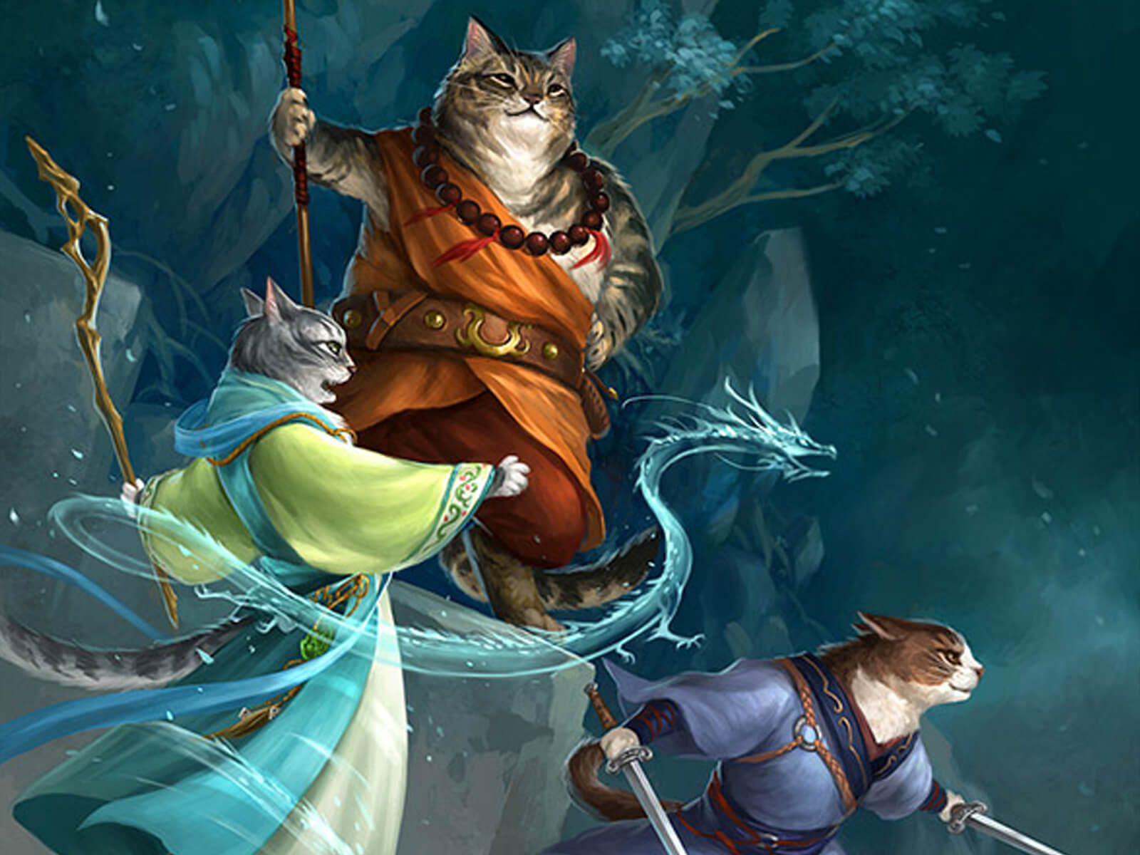 Three illustrated housecats are dressed in fantasy garb, holding staves, casting spells, and preparing to attack