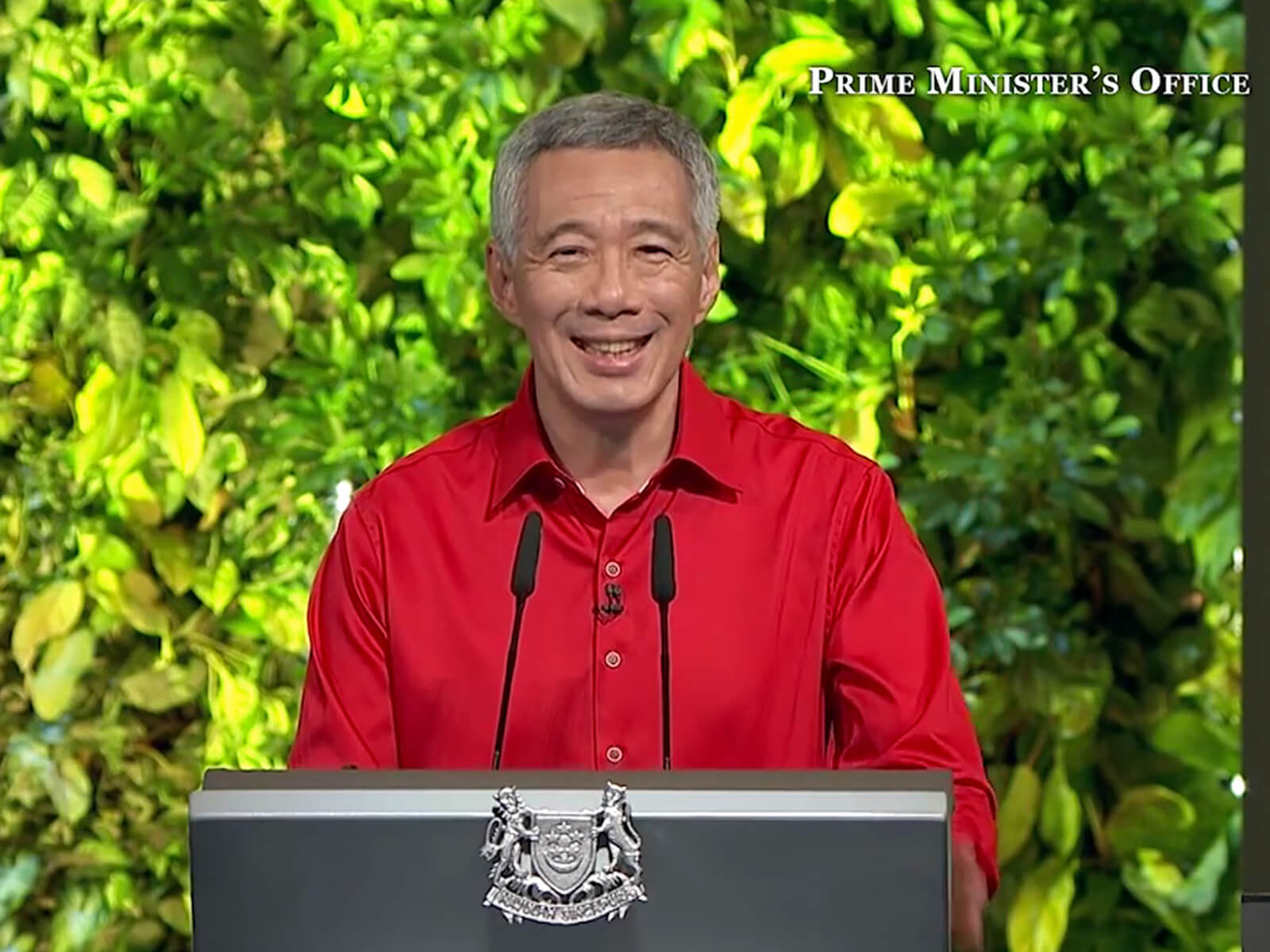 Singapore's Prime Minister, Lee Hsien Loong stands at a lectern with an image of a wall of vines behind him