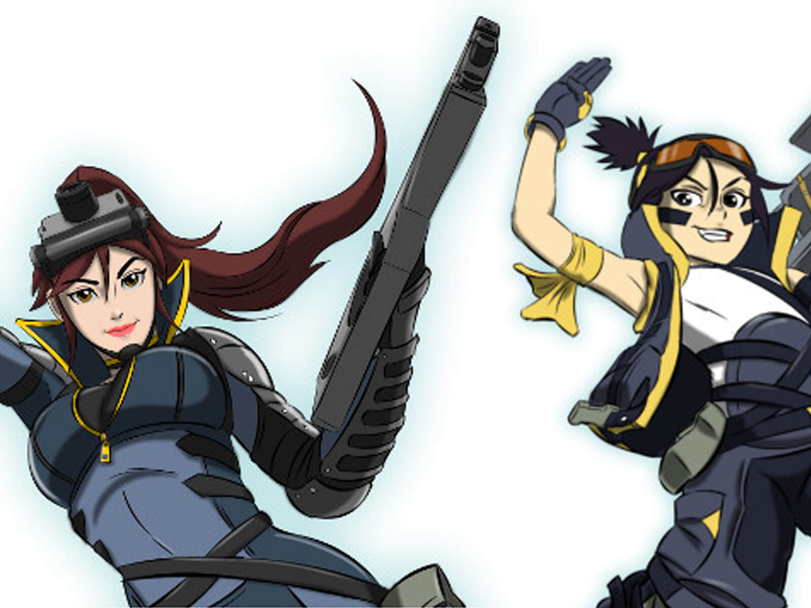 Two anime-style women are posed armed with guns and other weaponry