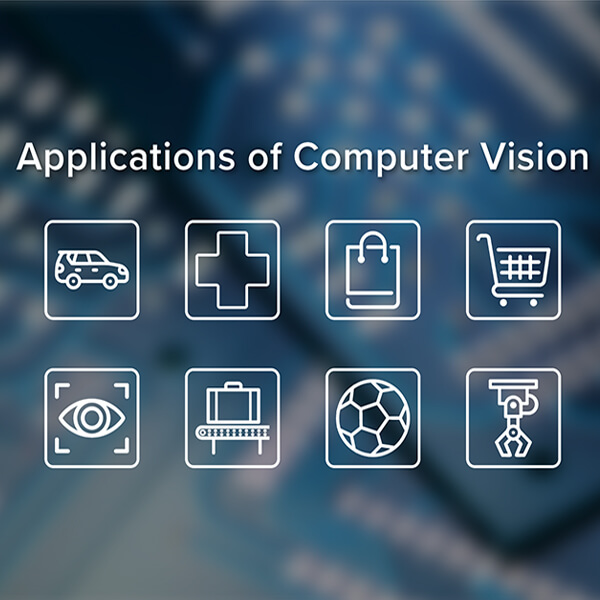 "Eight graphical icons with the text ""Applications of Computer Vision"""