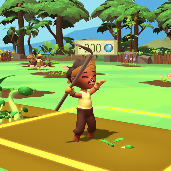 A game character happily holds a scythe in a garden