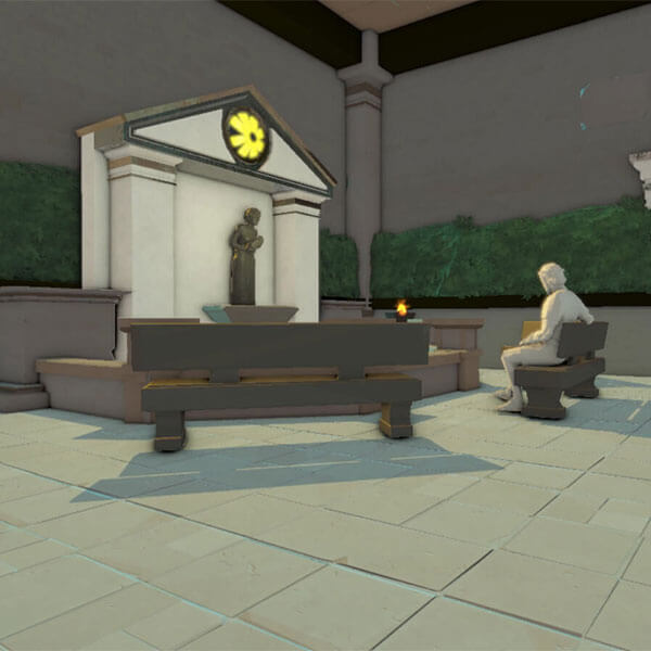 A stone character sits on a bench before an altar.
