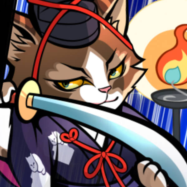Promo artwork for the game Nyapuri showing a blue-robed cat holding a sword