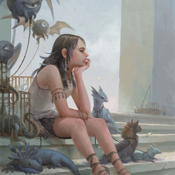A girl sits on a flight of stairs with several small mythological creatures beside her.
