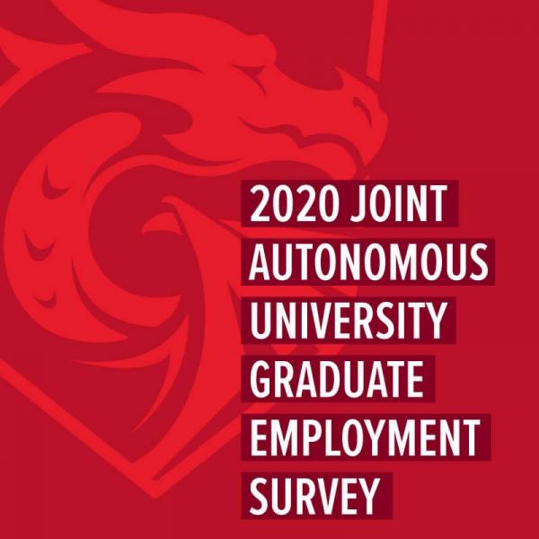 '2020 Join Autonomous University Graduate Employment Survey' text on top of red dragon logo