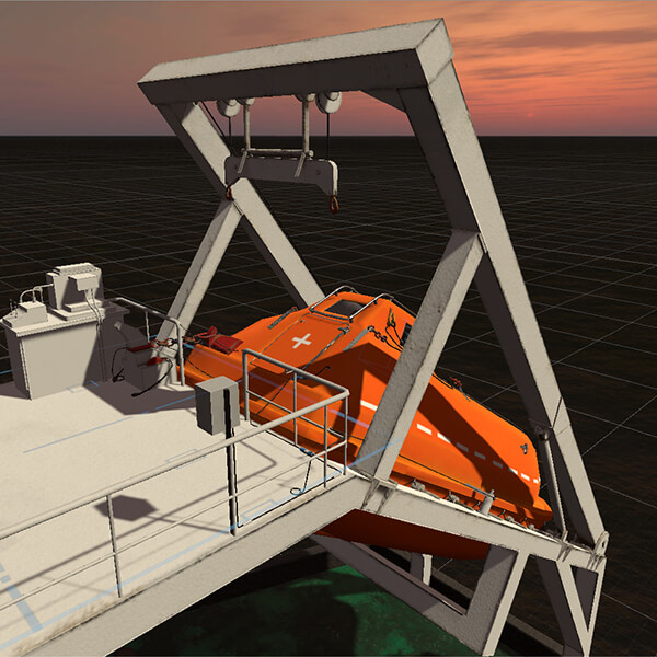 A 3D model created by Tan Rijian of a ship for a maritime project.