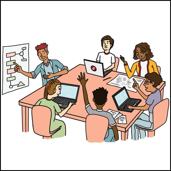 Comic of six students with laptops sitting at a desk collaborating together