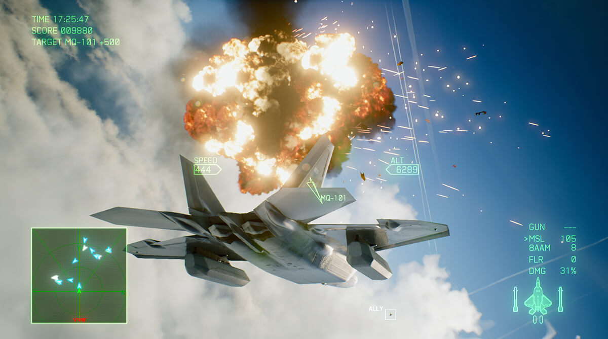 Screenshot from Ace Combat 7 featuring a grey fighter jet flying near a fireball explosion in the sky with background clouds.