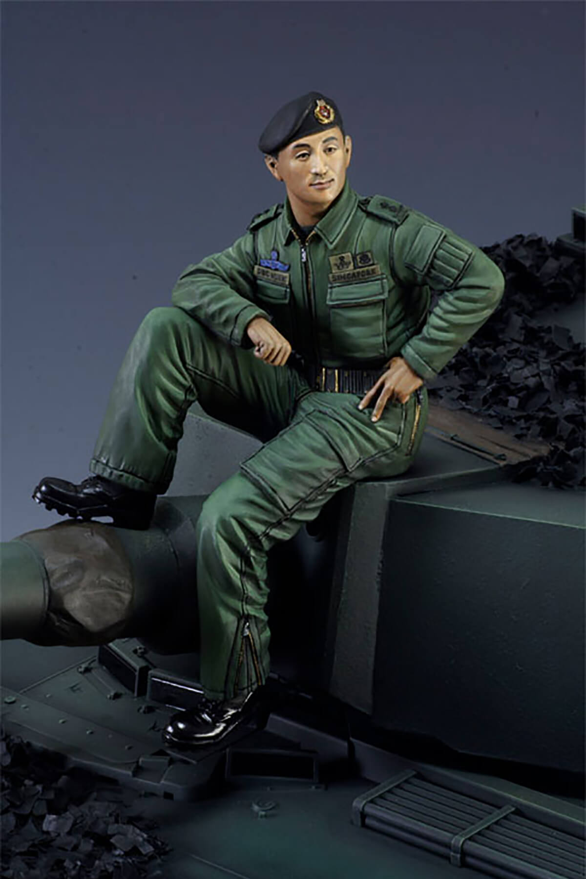 Miniature portrait of Singapore Army Major General Desmond Kuek created by DigiPen (Singapore) faculty member Calvin Tan