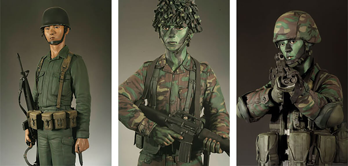 Portraits of three generations of SIngapore Army national service men created by DigiPen (Singapore) faculty member Calvin Tan