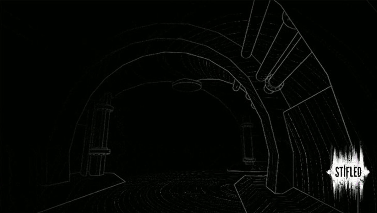 A black and white outline of an underground tunnel