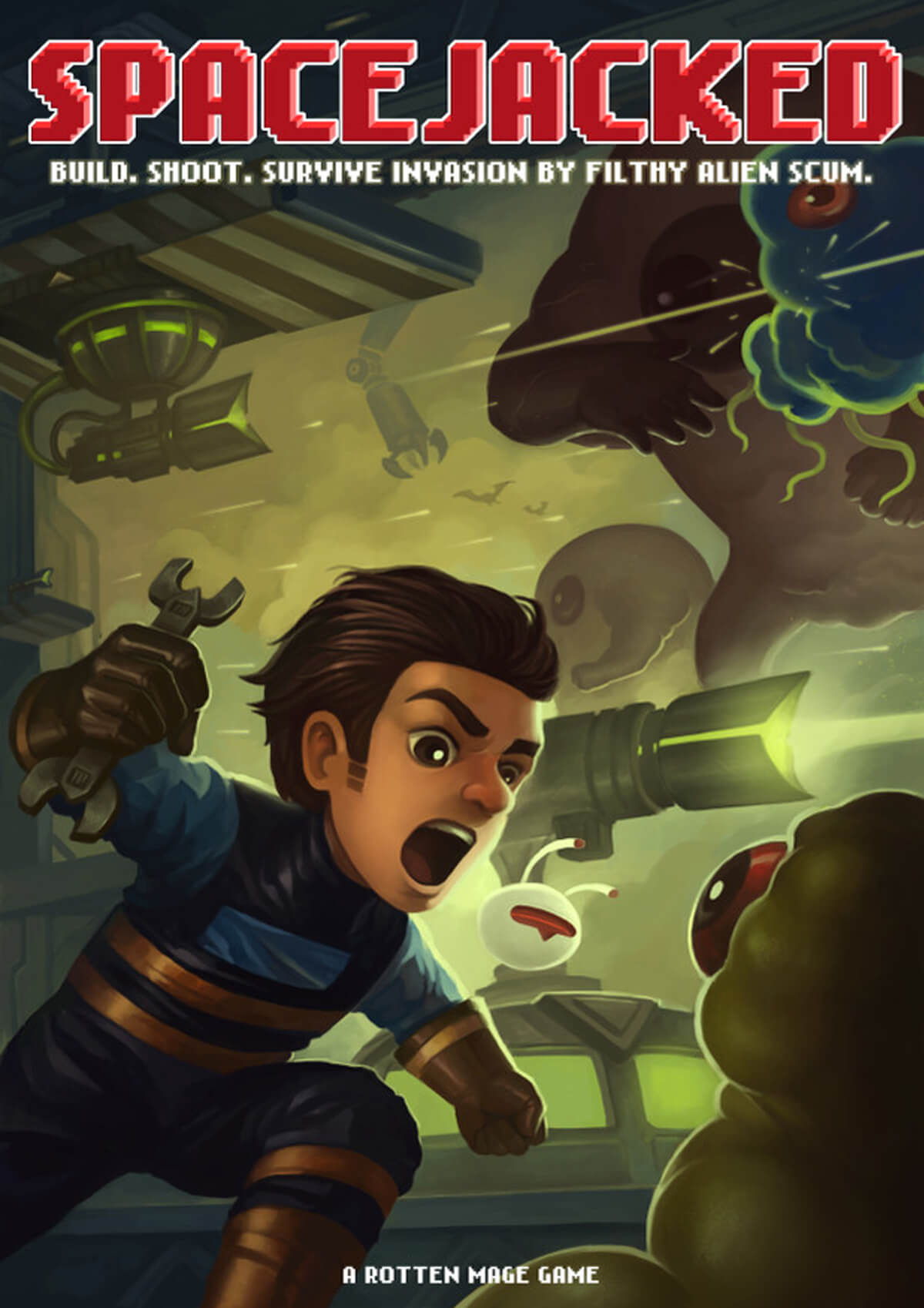 Stylized poster for Spacejacked, with the character lunging at a green alien with a wrench