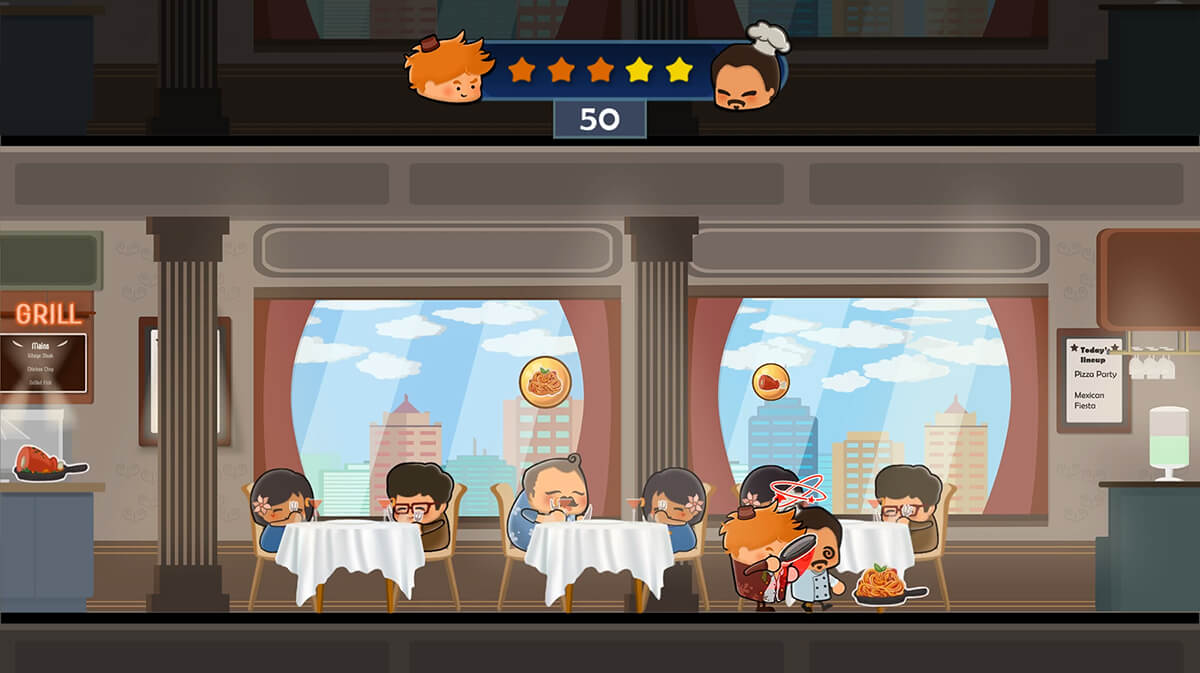 Screenshot from DigiPen game Hotel Hideaway depicting a restaurant with seated customers and windows facing a city skyline.