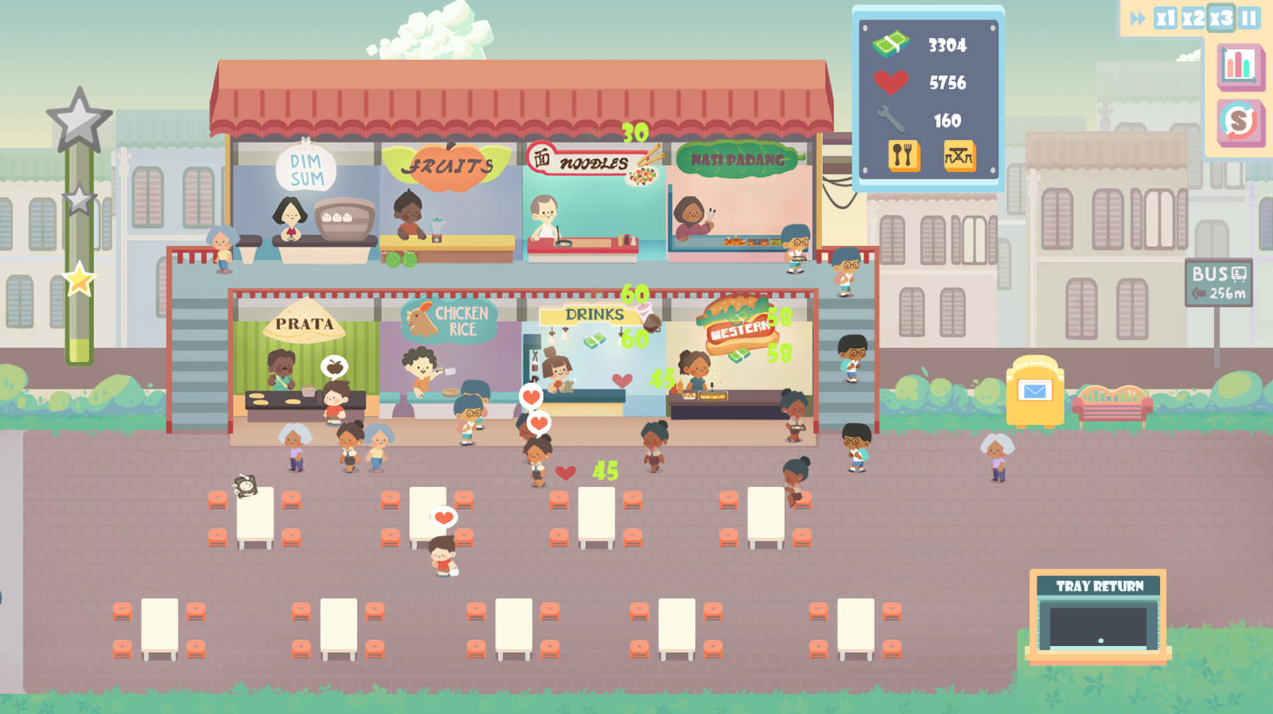 Kopitiam Ong game screenshot shows a top-down view of food vendors and customers.