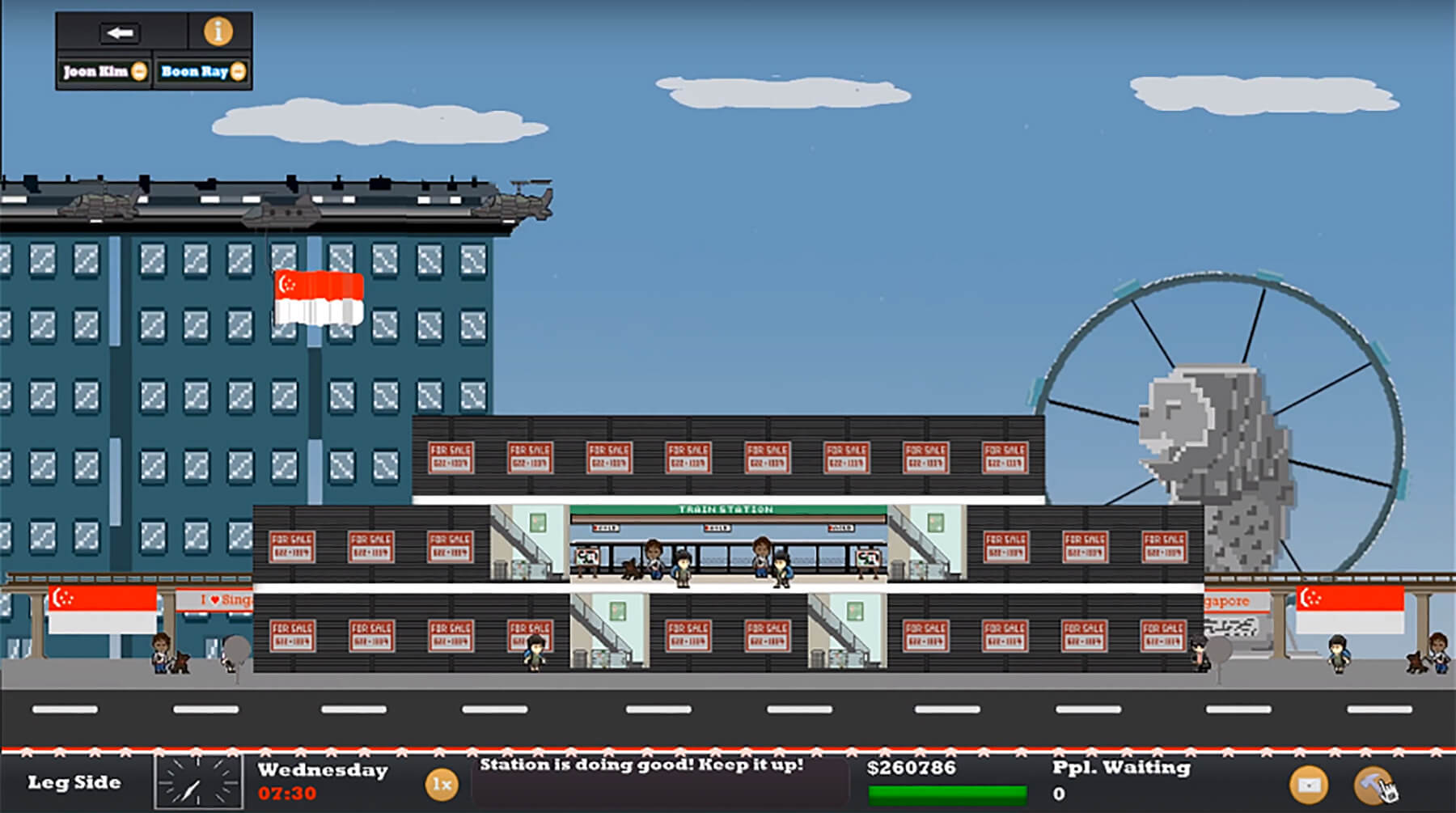 Metro Maniac game screenshot shows a side view of a metro station.