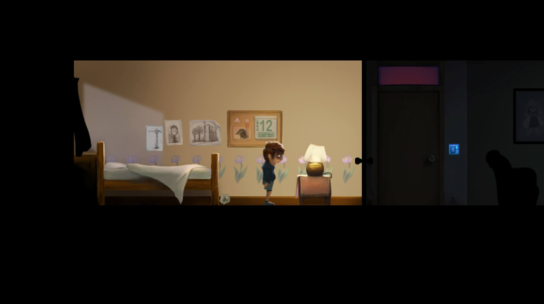 Past Twelve game screenshot shows a young boy in his bedroom at night.