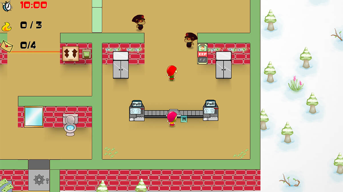 Screenshot from DigiPen game Santa's Clause showing top-down view of an office/workshop with elves and reindeer employees.