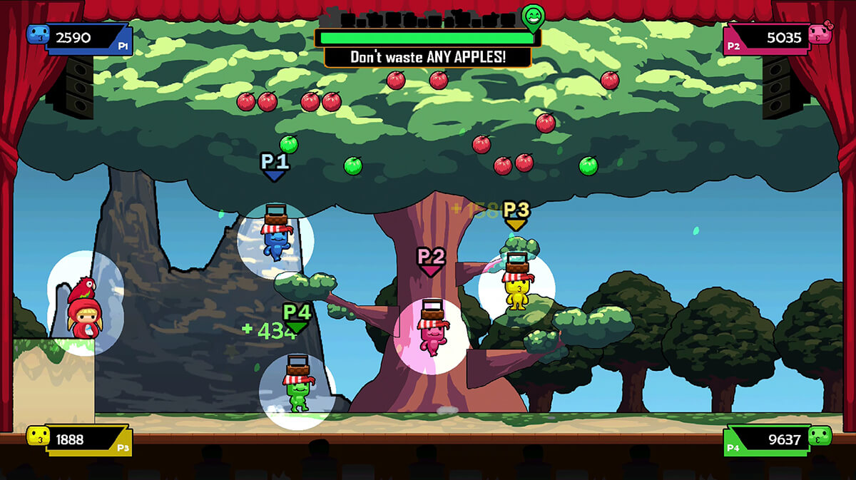 Screenshot from The Show Must Go On depicting a stage with an apple tree backdrop and spotlit creatures with baskets on heads.