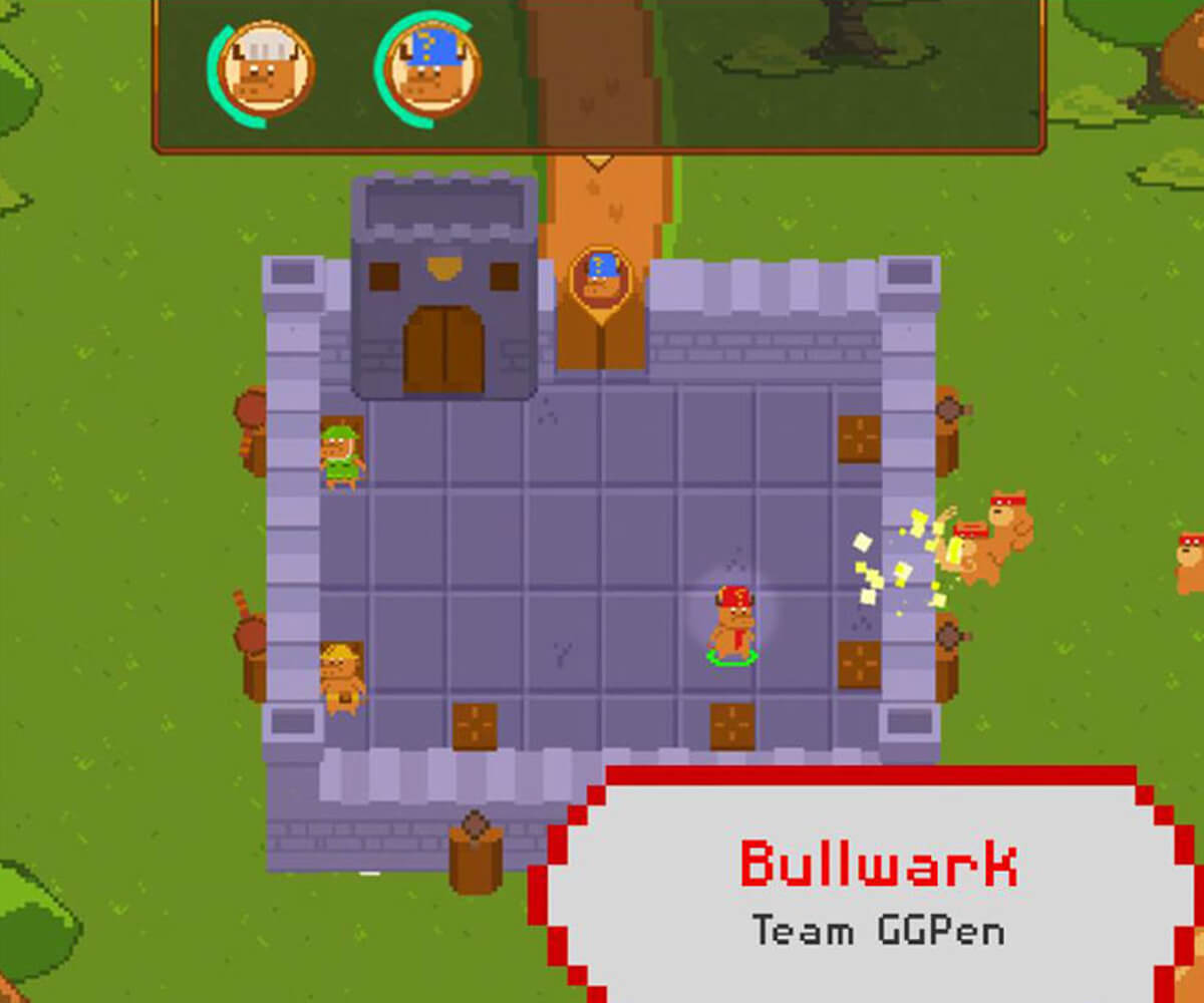 Screenshot of the winning game jam game, with several bulls facing attack from bears inside a castle