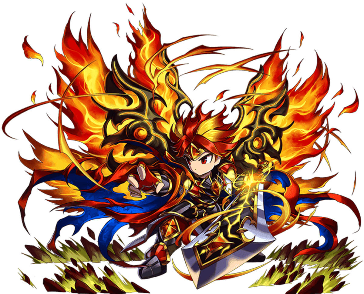 Character art from the game Brave Frontier, a figure is dressed in fiery armor and holding a longsword