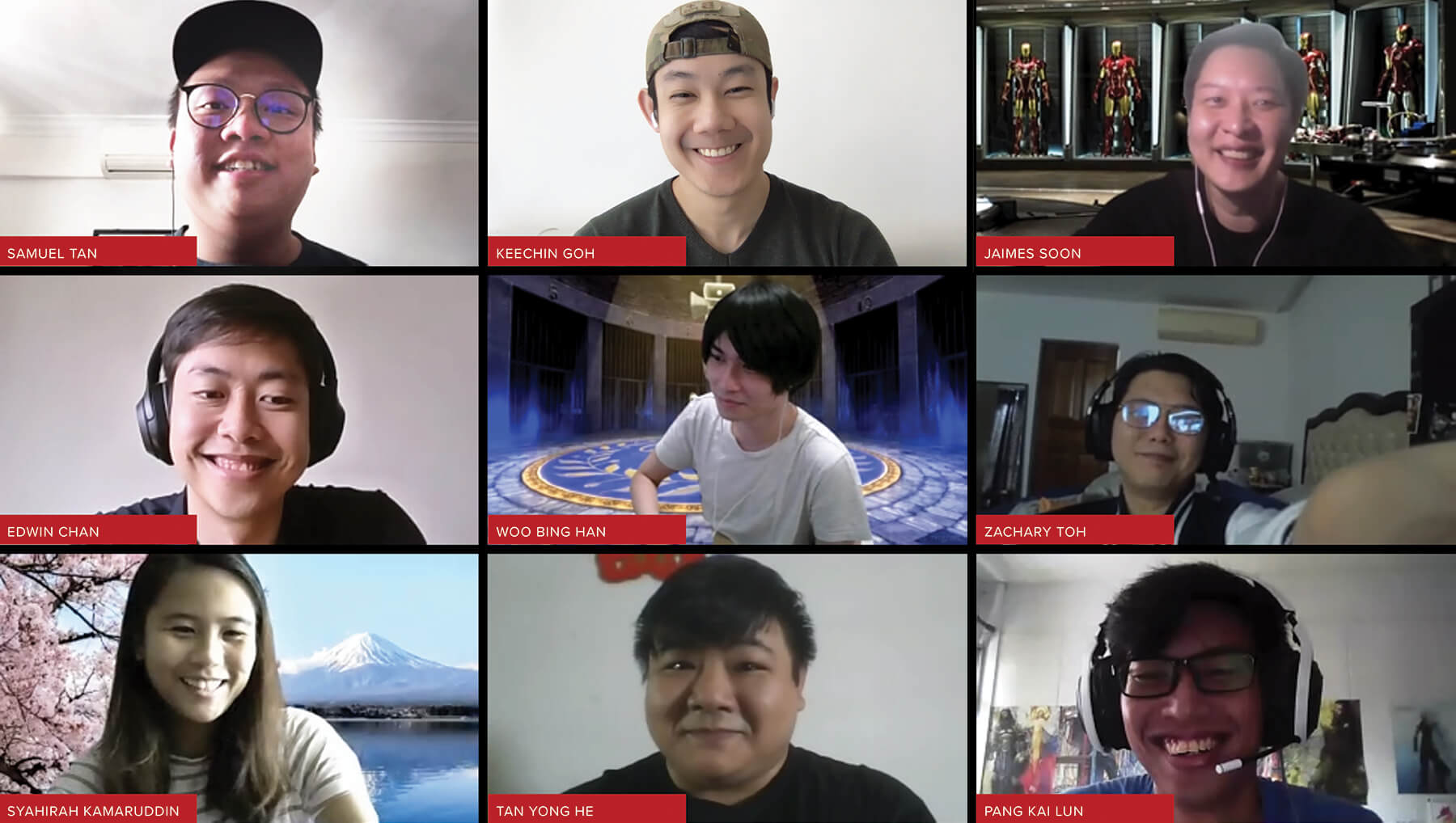 Screenshot of a video conference call of alumni committee members