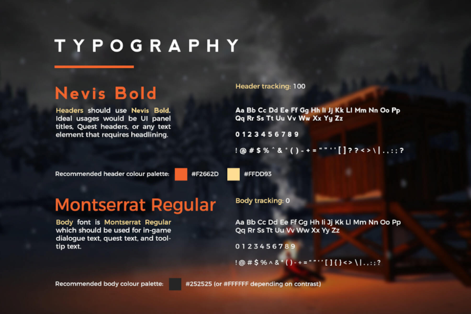 DigiPen (Singapore) student project – typography style guide.