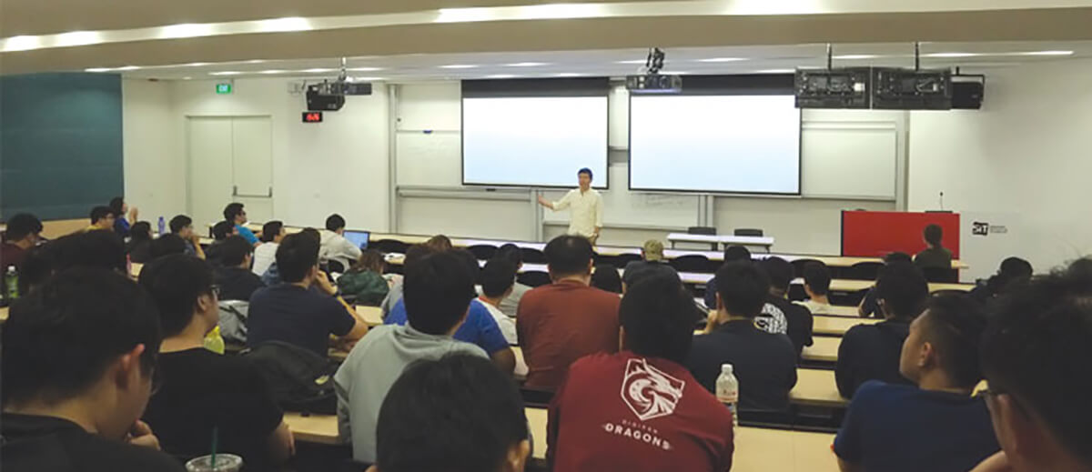 Koei Tecmo Singapore Senior Vice President Raymond Wong speaks in front of a class of DigiPen (Singapore) students