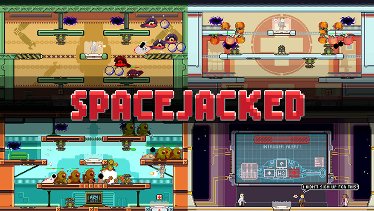 Screenshot of Spacejacked, four screens of a colorful 2D platformer game are arranged in each corner