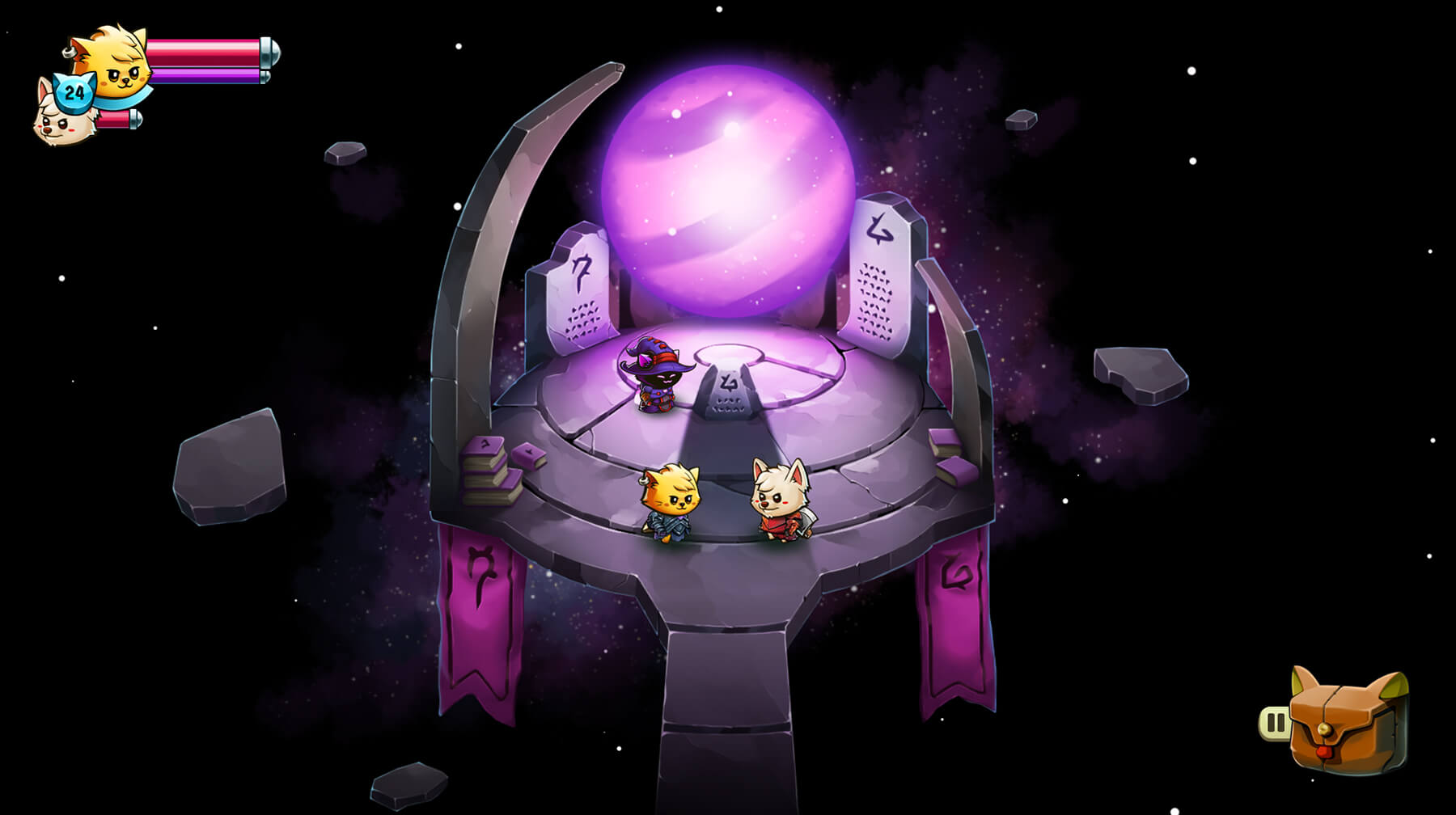 Three animal characters stand atop an ancient shrine floating in the dark void of space.