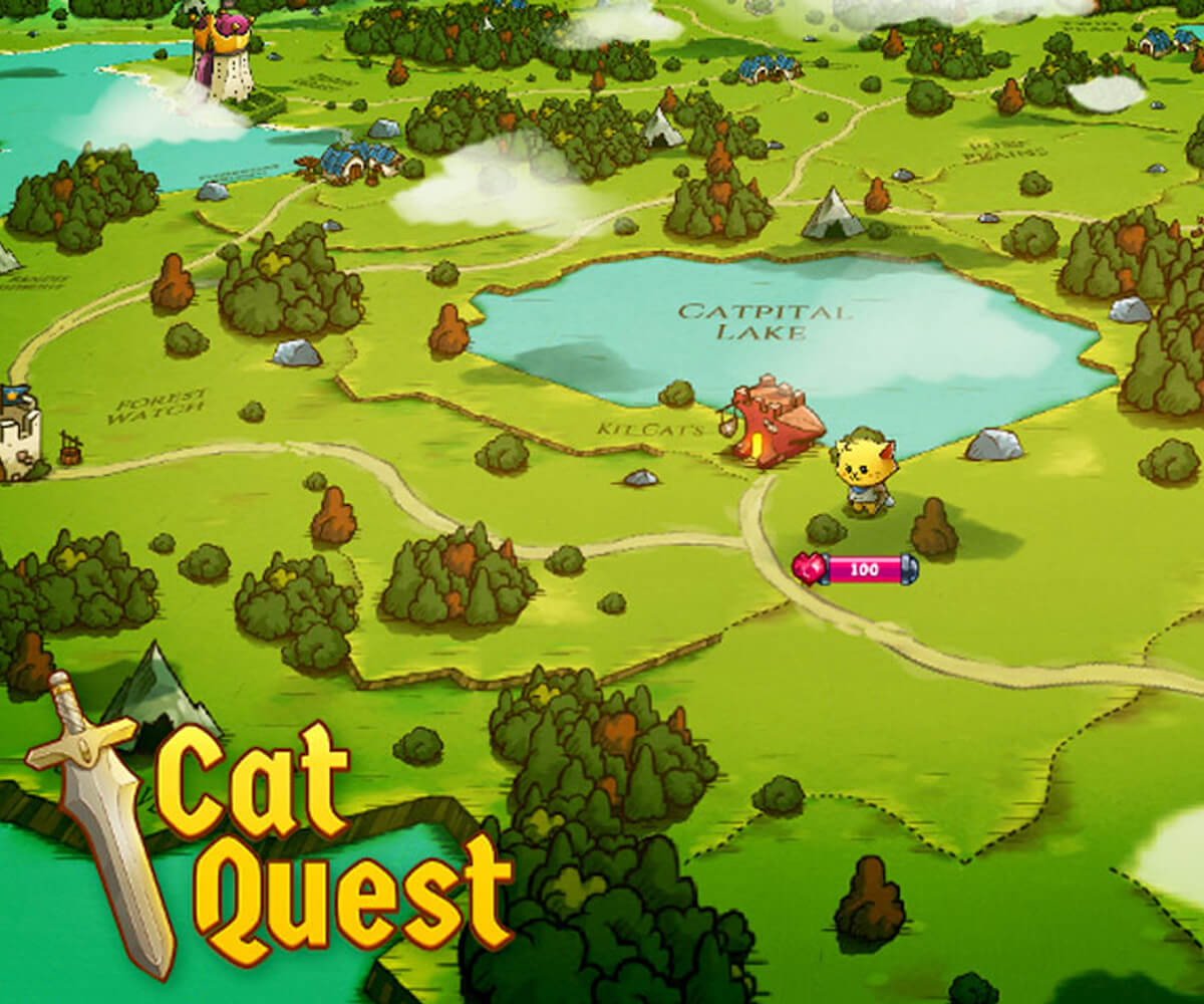Screenshot of Cat Quest Game in a vibrant green countryside with forests and lakes