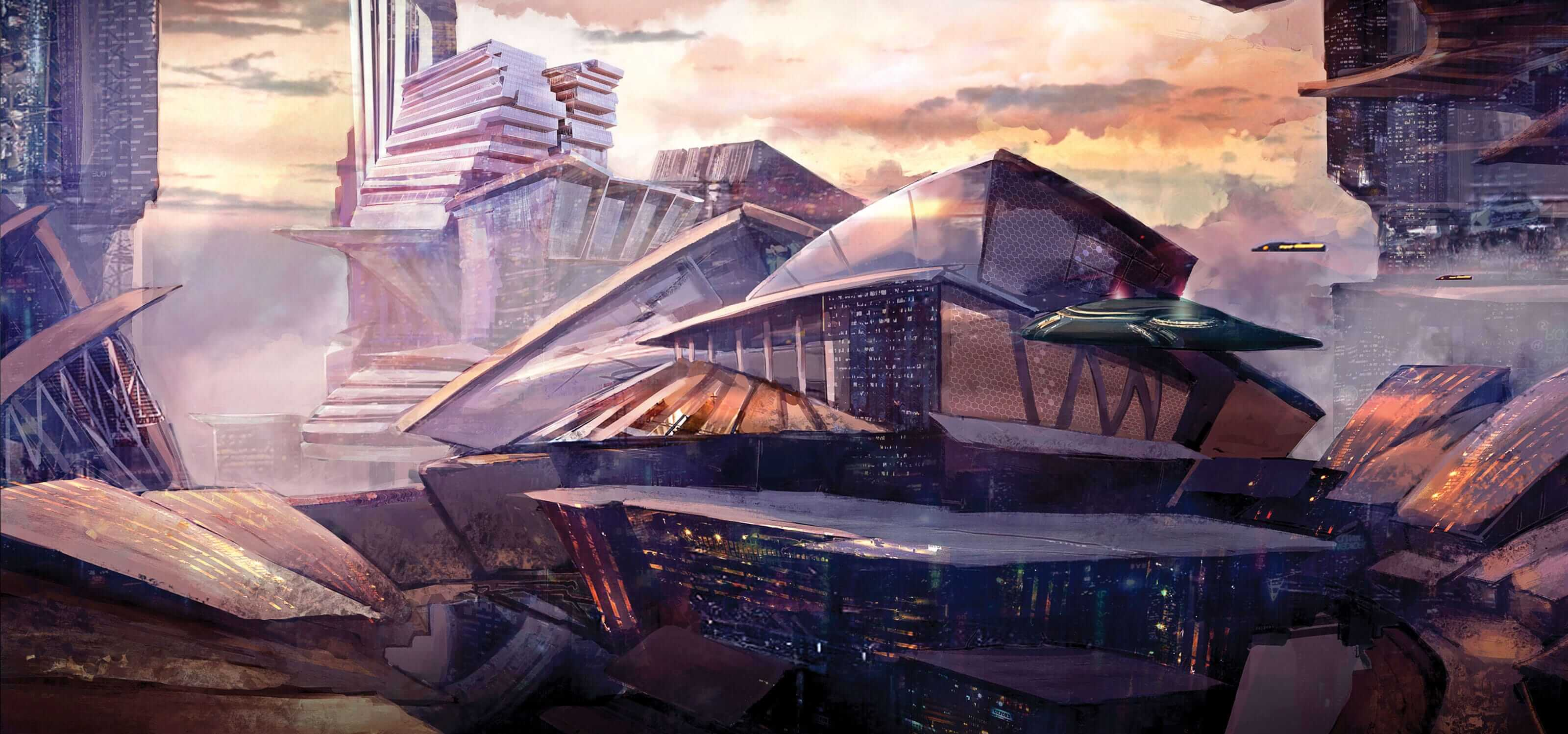 Digital painting of a futuristic cityscape with spaceships flying past a large building
